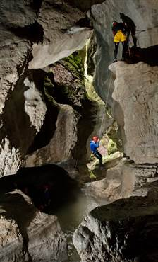 Two men canyoning