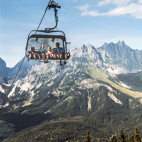 Family in chairlift