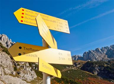 Signpost with hiking routes